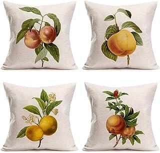 "MEHOTOP Fruit Farmhouse Throw Pillows Cover Lemon Peach Decorative Pillow Covers 18""x18"" Summer Nature Green Leaf Cushion ..."
