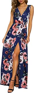 KILIG Women's Sexy Deep V-Neck Long Sleeve/Sleevless Floral Print Split Long Maxi Casual Wrap Dress with Pockets Belt