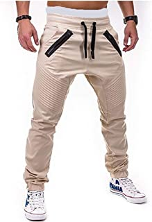 neveraway Men's Relaxed Long Pants Zip Up Waistband Stretchy Casual Pants