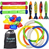 Fayoo 23 Pack Underwater Swimming/Diving Pool Toys Diving Rings(4 Pcs), Toypedo Bandits(4 Pcs), Diving Sticks(3 Pcs) with Under Water Treasures (12 Pcs) Gift Set Bundle