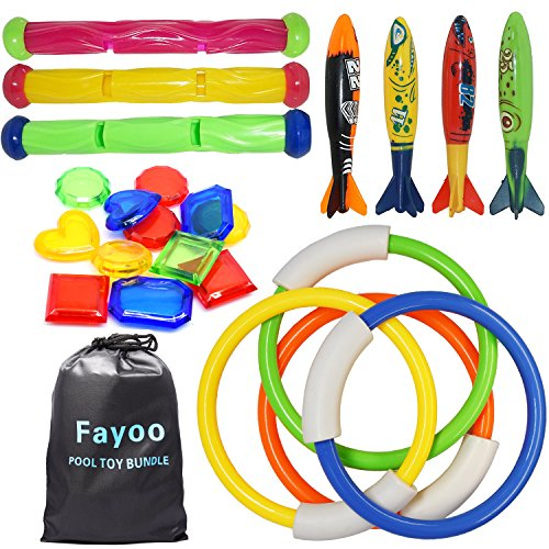 Fayoo 23 Pack Underwater Swimming/Diving Pool Toys Diving Rings(4 Pcs)