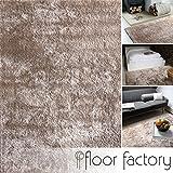 floor factory Moderner Teppich Delight Taupe 120x170cm - Edler Designer Teppich mit flauschig weichem Flor