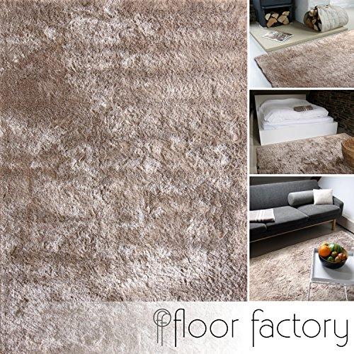 floor factory Moderner Teppich Delight Taupe 80x150cm - edler Designer Teppich mit flauschig weichem Flor