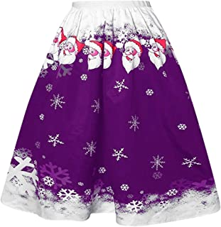 Huazi2 Women Christmas Santa Claus Snow Printing Dress, Casual Mini Skirts Vintage A-line Flared Midi Skirts