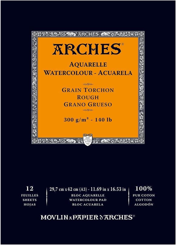 Arches 1795104 Aquarellpapier im Block (A3  42 x 29,7 cm, Kopfgeleimt, 300g m² Grobkorn) 12 Blatt naturweiß B01FBYV02G   Deutschland München