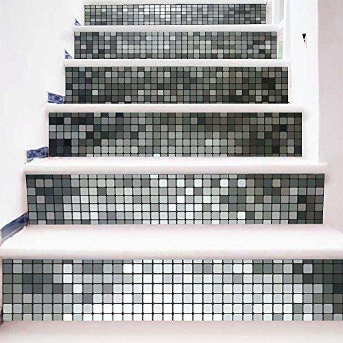 Usopu 6 pcs/Set DIY Creativo Autoadhesivo 3D Baldosa de Imitación Escalera Pegatinas Decoración para El Hogar A Prueba de Agua Pegatinas de Paso extraíble, Gris