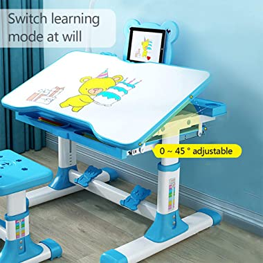 Rabbithome Table for Kids - Adjustable Height Table with Tilt Desktop Storage Drawer Cute Desk for Kids Ages 4-8 Light Table,