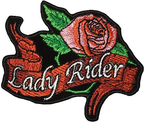 Papapatch Damen Reiter Pink Rose Blume Biker Motorrad weiblich Choppers Jacke Kostüm Schild Aufnähen Aufnäher Bügelbild Bügelbild Iron Lady Rider Rose