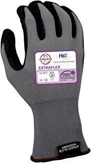 Armor Guys 04-007 (L) 1 Extraflex, 15g, Nylon Liner, Black HCT Nitrile MicroFoam Palm Coating with Dots (One Pair), L, Gray