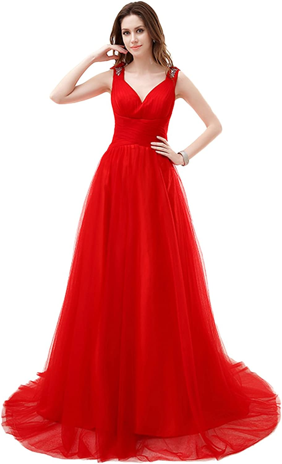 BessWedding Women's Long V Neck Beads Sequins Prom Evening Wedding Gowns Dress