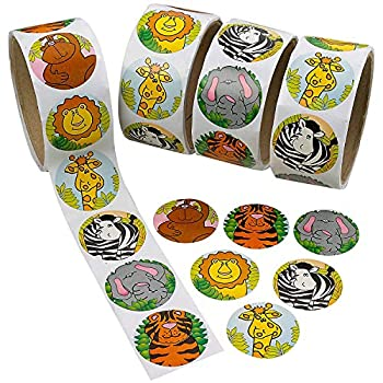 Kicko Zoo Animal Sticker Roll for Kids - 4 Rolls - 400 Assorted Stickers - Party Favors Game Prizes Novelty Toys Wall Decals Creative Scrapbooks Personalized Arts and Crafts