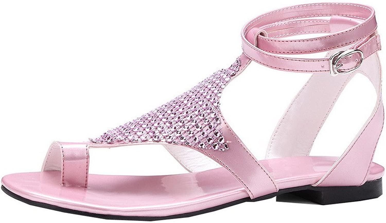 WeiPoot Women's PU Split-Toe Low-Heels Buckle Solid Sandals