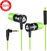 KLIM Fusion Earbuds with Mic Audio - Long-Lasting Wired Ear Buds + 5 Years Warranty - Innovative: in-Ear with Memory Foam Earphones with Microphone - 3.5mm Jack - New Earphone 2019 Version - Green