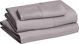 "Amazon Basics Lightweight Super Soft Easy Care Microfiber Bed Sheet Set with 14"" Deep Pockets - Twin, Dark Gray"