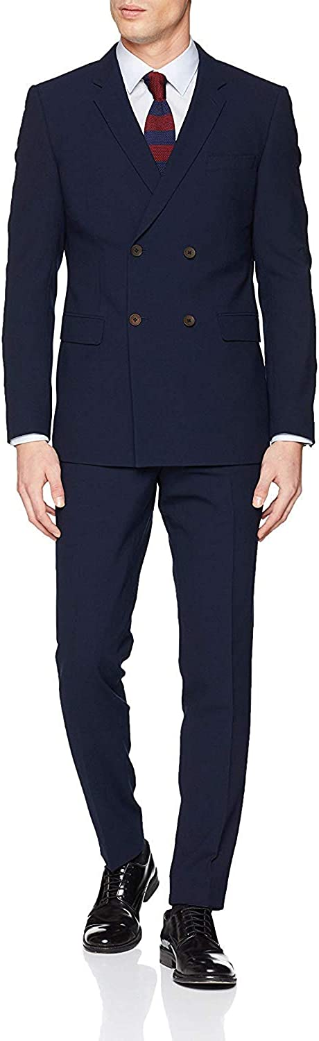 HOTK Men's Max 61% OFF Suits 2 Piece Many popular brands Navy Blue Slim Fit Wedd Double Breasted