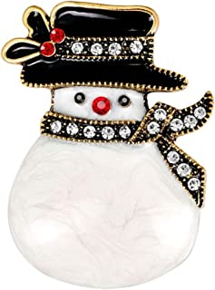 Creative Crystal Snowman Brooches Pins Christmas Wedding Gift for Women Girl