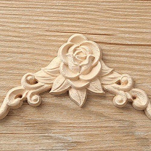 Liseng 10 pegatinas de madera tallada para esquina con apliques de madera para decoraci/ón de gabinete