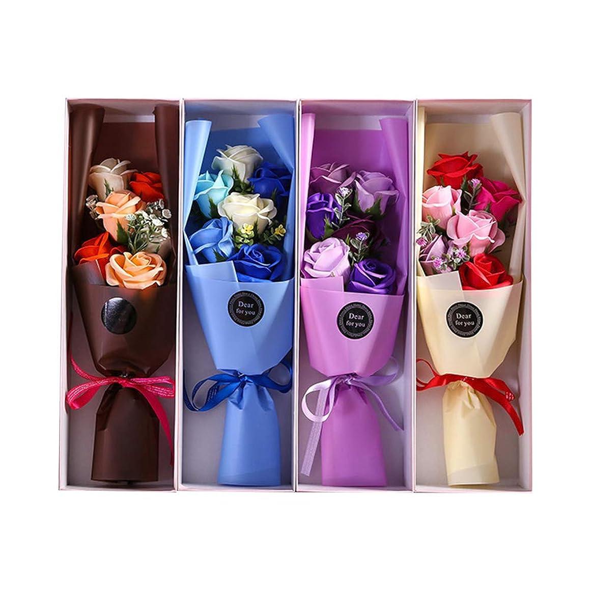 乳ソート受け皿BESTOYARD 6PCS石鹸の花びら人工石鹸の花のバラのギフトボックスカップルバレンタインデーのプレゼント(ランダムカラー)