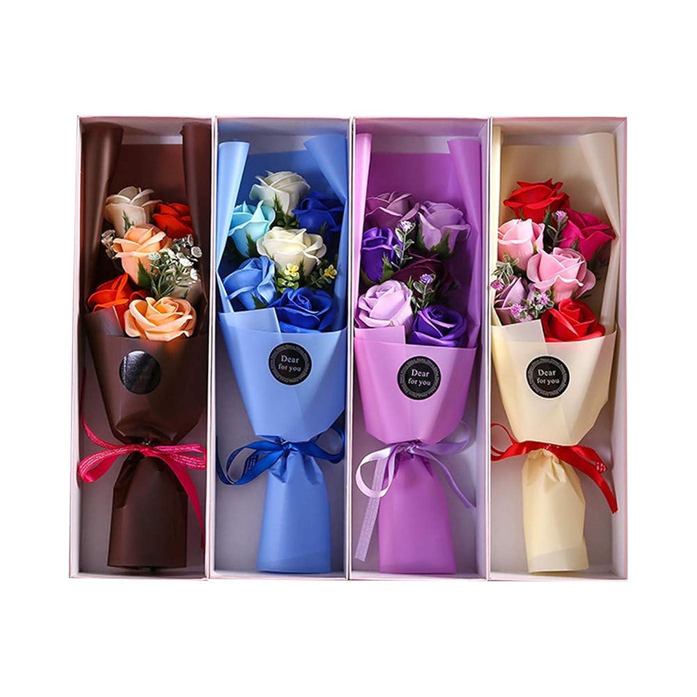鏡第三混乱させるBESTOYARD 6PCS石鹸の花びら人工石鹸の花のバラのギフトボックスカップルバレンタインデーのプレゼント(ランダムカラー)