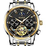 OLEVS Black Men's Automatic Mechanical Watches Luxury Dress Waterproof Self Winding Moon Phase Chronograph Stainless Steel Luminous Date Tourbillon Wristwatch for Men
