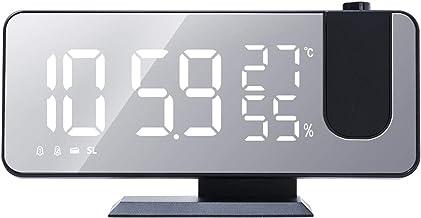 HEYJUDY Despertador de projeção digital grande LED com tela curvada, projetor de teto, relógio para quarto, sono pesado, c...