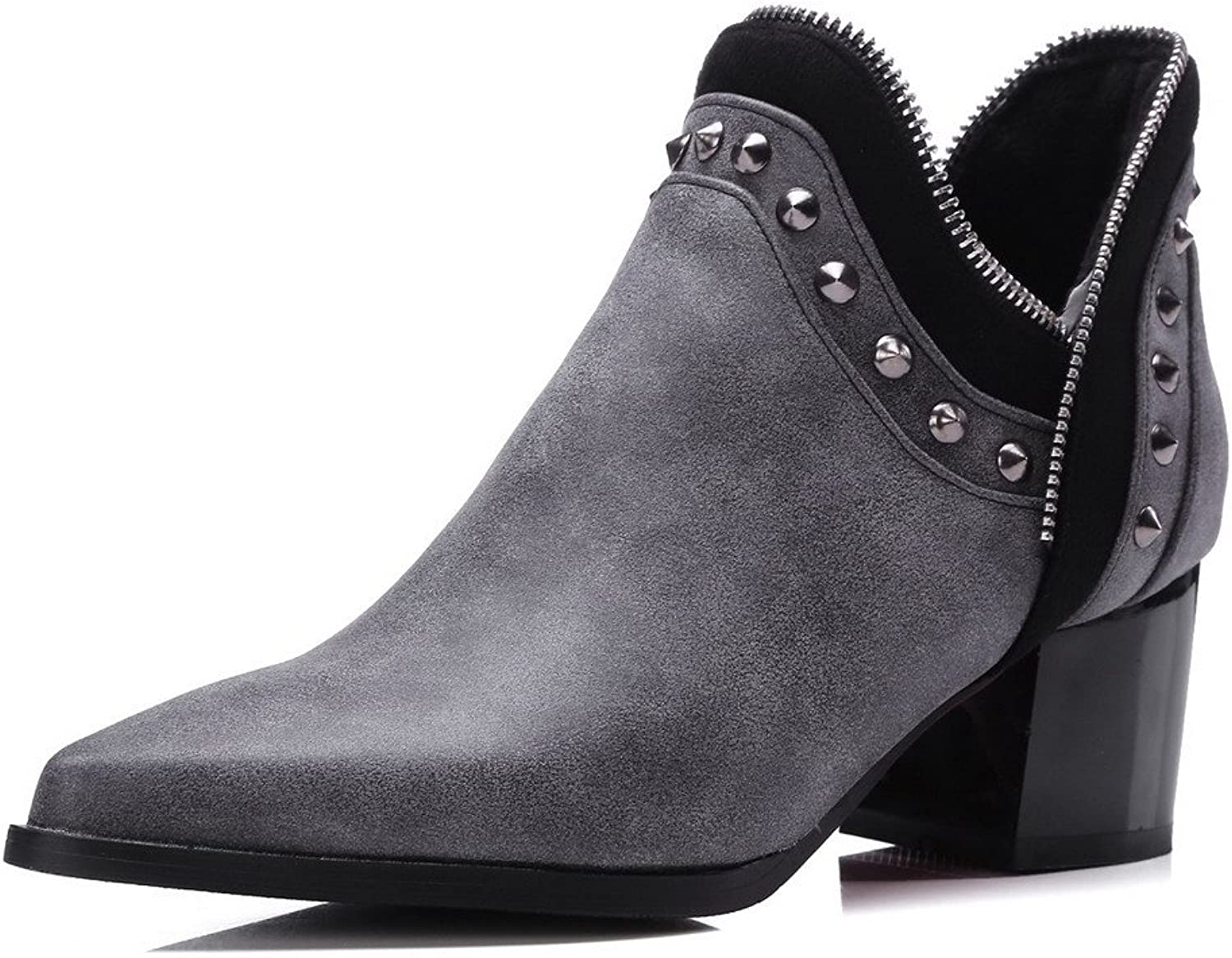 WeiPoot Women's Pull On Kitten Heels Pu Solid Ankle High Boots
