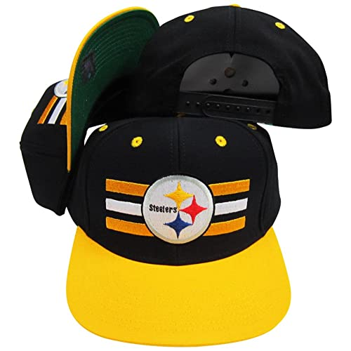 Reebok Pittsburgh Steelers Black Yellow Two Tone Snapback Adjustable  Plastic Snap Back Hat Cap 90ff935cc