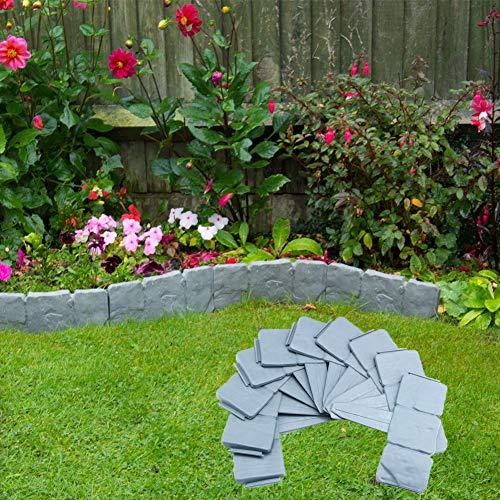 A-N 20 bordes de césped con piedra empedrada de plástico, borde de jardín, borde de plantas de 5 metros