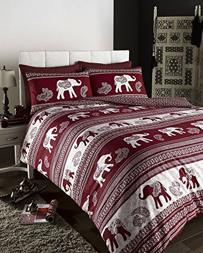 DE CAMA Empire Elephant Animal Print Quilt/Duvet Cover Set Wine, Fully Reversible (Double), Cotton and Polyester, Red