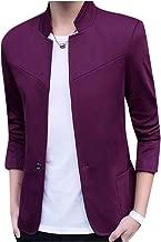 Abetteric Men's Tuxedo Mandarin Collar Button Business Casual Welt Jacket