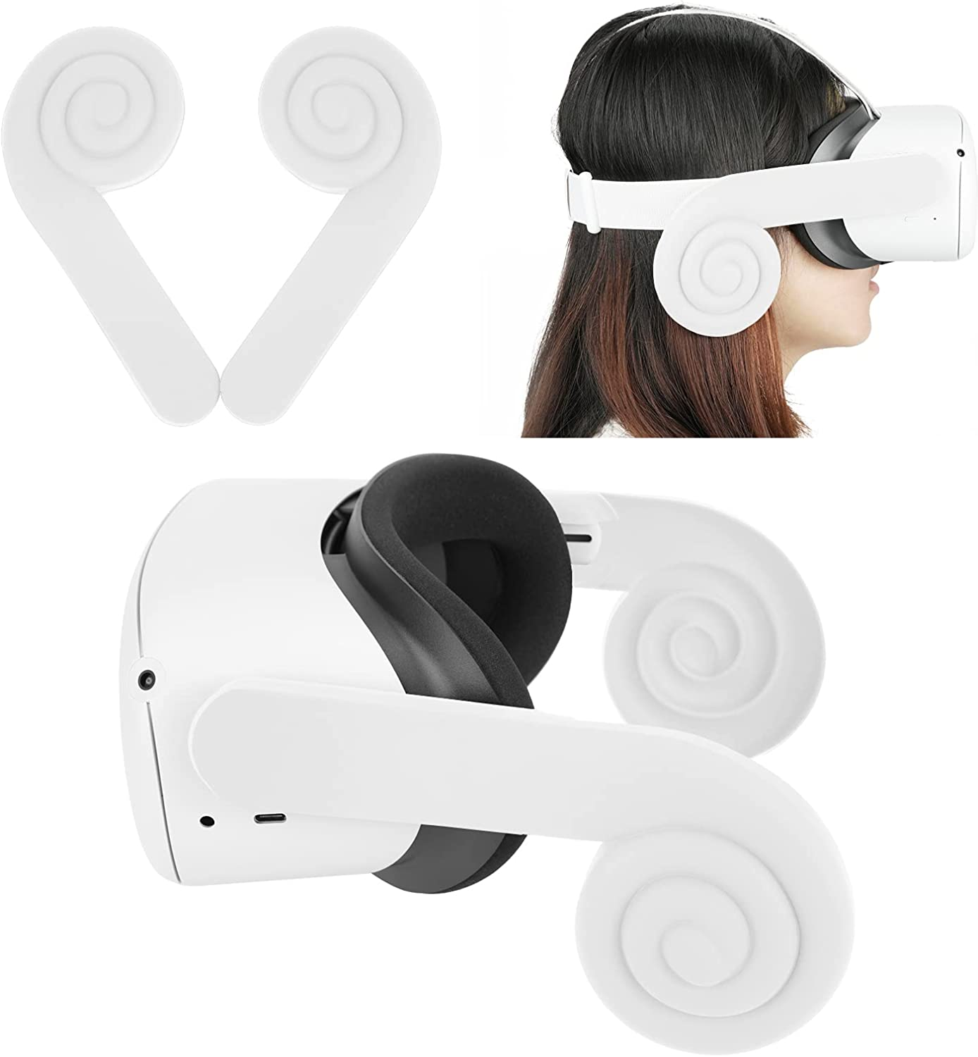 Earmuffs for Oculus Quest 2 Silicone Ear Cover for VR Headset Spiral Sound Amplification Cup OQ2 Earbuds Replacement Enhance Sound Effect Redirect Sound Reduce Sound Leakage Shield from Ambient Noise