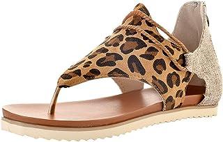 MoneRffi Mujeres Sandalias Planas Sandalias Casuales Zapatos de Verano Mujeres Peep Toe Casual Encaje up impresión Sandali...