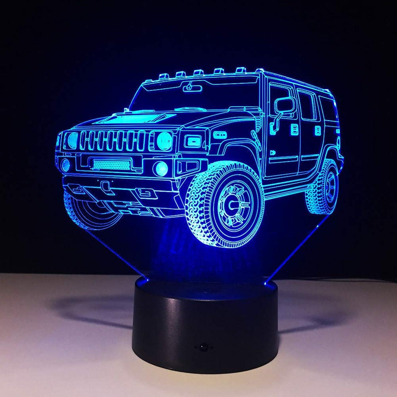 Zyue Auto 3D Nachtlicht 7 Farbe Led Tischlampe Berührungsschalter USB Lampe Baby Schlafen Licht, Lautsprecher entfernen