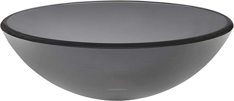 Topia TS 084G Glass Above Counter Round Bathroom Sink 16 L X 16 W X 5 5 H Grey