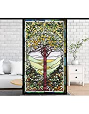 Gebrandschilderd Glas Raam Film Zelfklevende Stickers, Pvc Zelfklevende Venster Films, Kerk Thuis Folie Stickers Fruit,Opaque,90x120