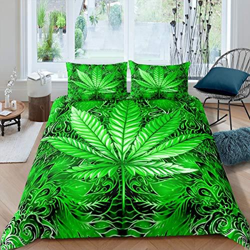 Homemissing Juego de funda de edredón con hojas de marihuana, color turquesa, juego de cama con 2 fundas de almohada, 3 piezas, tamaño King