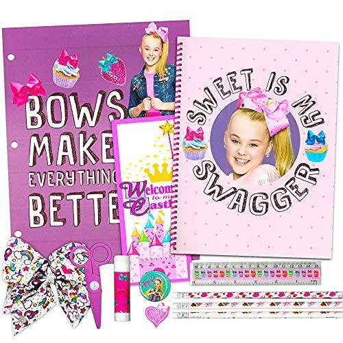 JoJo Siwa School Supplies for Girls Super Set ~ Folder, Notebook, Pencils, Stickers, Hair Bow, and More (Jojo Siwa School Set Bundle)