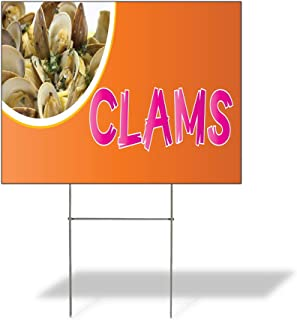 Plastic Weatherproof Yard Sign Clams Clams Seafood White Fried Clams for Sale Sign Multiple Quantities Available 18inx12in One Side Print One Sign