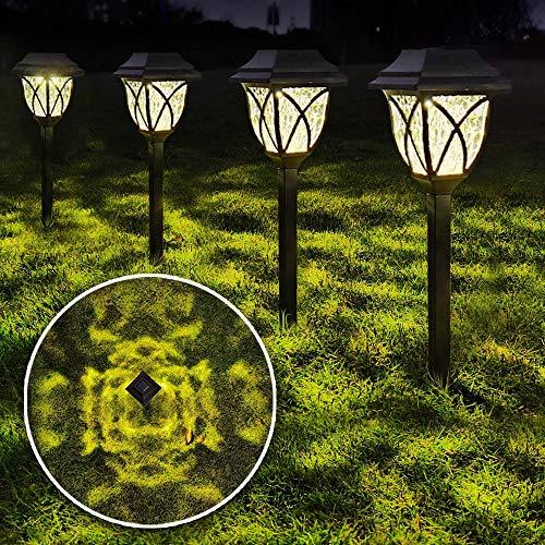 LANSGARINE 8 Pack Solar Pathway Lights Outdoor Waterproof,Solar Powered Garden Lights, LED Solar Yard Lighting for Landscape,Lawn, Patio, Walkway, Driveway(Warm White)