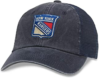 American Needle Raglan Bones NHL Mesh Strapback Hat, New York Rangers, Navy (41152A-NYR)