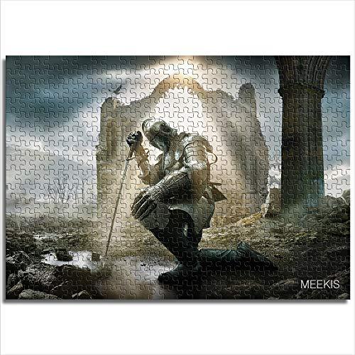 CELLYONE Weihnachtspuzzles 1000 Teile Puzzles für Erwachsene Mittelalter Ritter in Kette Rüstung Knien intellektuelle Gemälde Puzzle HD Druck Puzzle Spielzeug Spiel Geschenk (38x26cm)