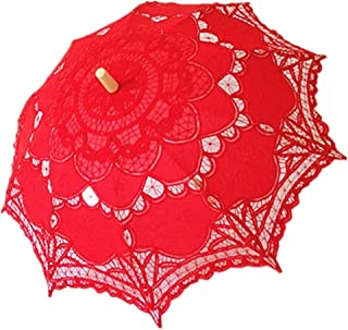 Handmade Red Lace Parasol Umbrella Wedding Bridal 30 Inch Adult Size