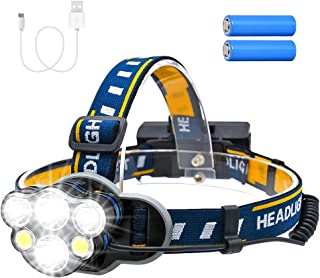 Consciot Rechargeable Headlamp, 6 LEDs 12000 Lumens 18650 USB Rechargeable Waterproof 8 Modes LED Flashlight Rechargeable ...