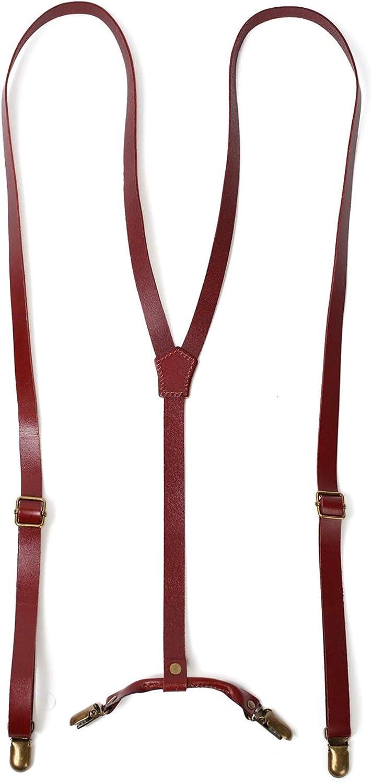 Leather Suspenders for Men,Adjustable Genuine Leather Suspender with 4 Metal Clips,Y Back Design Men's Solid Suspender