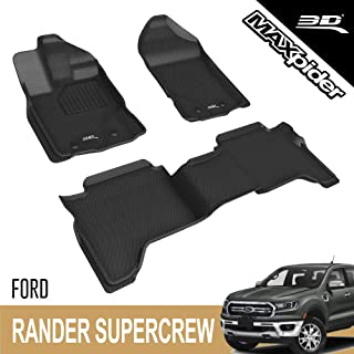 3D MAXpider All-Weather Floor Mats for Ford Ranger Supercrew 2019-2020 Custom Fit Car Floor Liners, Kagu Series (1st & 2nd...