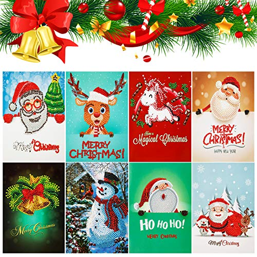 FFNIU730 Christmas Cards Diamond Painting Kits - 8 Pack Paint by Number for Friends and Family