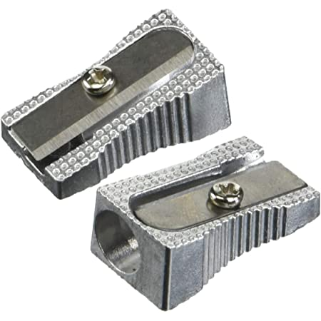 Pencil Sharpener Metal Single Hole Metallic Silver New  For School Office Home