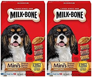 2 Pack Milk-Bone Mini's Peanut Butter Flavor Variety Dog Treats, 15-oz box