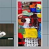 GHFDSJHSD Türtapete selbstklebend Wasserdicht PVC 77x200cm Abnehmbar TürPoster Fototapete Holzwand Türaufkleber Wandbild für Tür, Wohnzimmer, Schlafzimmer, Küche und Bad (Graffiti)