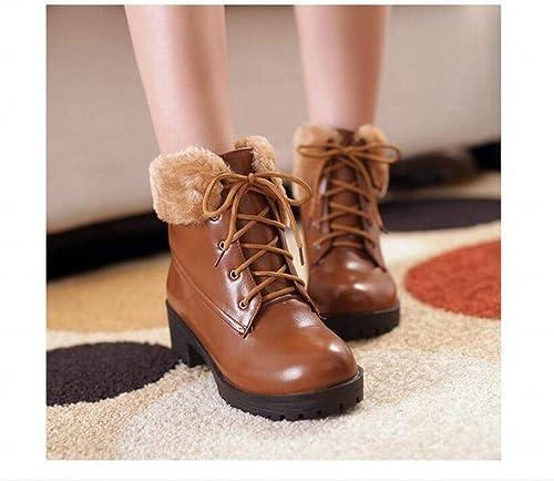 ZHRUI Calzado de damen - Cordones de Invierno Stiefel de Nieve cálidas Antideslizantes Calzado de algodón para damen con Botines 34-43 (Farbe   Gelb, tamaño   42)